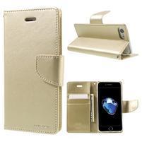 Bravo diary PU kožené zapínacie púzdro na iPhone 7 a iPhone 8 - zlaté