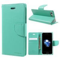 Bravo diary PU kožené zapínacie púzdro na iPhone 7 a iPhone 8 - cyan