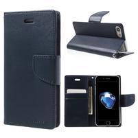 Bravo diary PU kožené zapínacie púzdro na iPhone 7 a iPhone 8 - tmavomodrej