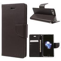 Bravo diary PU kožené zapínacie púzdro na iPhone 7 a iPhone 8 - tmavohnedej