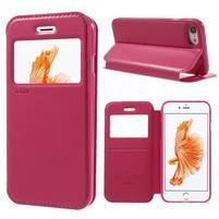Noble PU kožené zapínacie púzdro s okienkom na iPhone 7 a iPhone 8 - rose