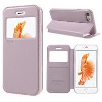 Noble PU kožené zapínacie púzdro s okienkom na iPhone 7 a iPhone 8 - ružové