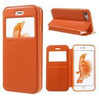 Noble PU kožené zapínacie púzdro s okienkom na iPhone 7 a iPhone 8 - oranžové