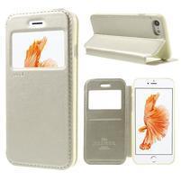 Noble PU kožené zapínacie púzdro s okienkom na iPhone 7 a iPhone 8 - champagne