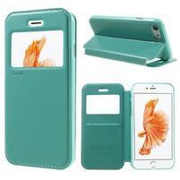 Noble PU kožené zapínacie púzdro s okienkom na iPhone 7 a iPhone 8 - cyan