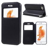 Noble PU kožené zapínacie púzdro s okienkom na iPhone 7 a iPhone 8 - tmavomodrej