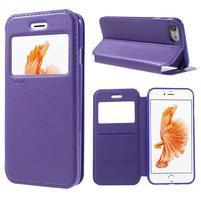 Noble PU kožené zapínacie púzdro s okienkom na iPhone 7 a iPhone 8 - fialové