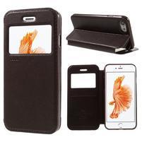 Noble PU kožené zapínacie púzdro s okienkom na iPhone 7 a iPhone 8 - hnedé
