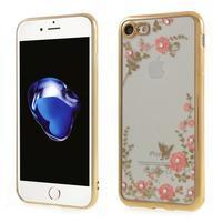 Crystal zdobený gélový obal na iPhone 7 a iPhone 8 - zlatý / červený