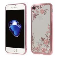 Crystal zdobený gélový obal na iPhone 7 a iPhone 8 - Rosegold / červený