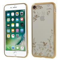 Crystal zdobený gélový obal na iPhone 7 a iPhone 8 - zlatý / biely