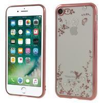 Crystal zdobený gélový obal na iPhone 7 a iPhone 8 - Rosegold / biely