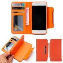 Wally multifunkčí peněženkové púzdro na iPhone 7 a 8 - oranžové