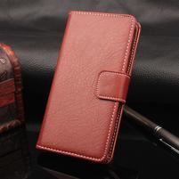Leathem PU kožené peněženkové puzdro na iPhone 7 a 8 - hnedé