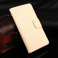 Texture PU kožené puzdro na iPhone 7 a 8 - smotanové