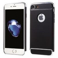 Hardy plastový odolný obal 3v1 na iPhone 7 a 8 - čierny / strieborný