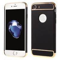 Hardy plastový odolný obal 3v1 na iPhone 7 a 8 - čierny / zlatý