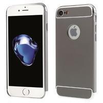 Hardy plastový odolný obal 3v1 na iPhone 7 a 8 - sivý / strieborný