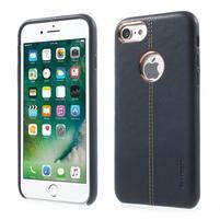 Vorša plastový obal s PU koženými chrbtom na iPhone 7 a 8 - modrý