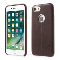 Vorša plastový obal s PU koženými chrbtom na iPhone 7 a 8 - hnedý