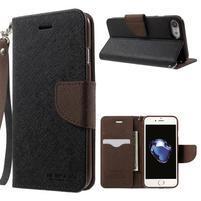 Cross textúrované PU kožené puzdro na iPhone 8 a iPhone 7 - čierne / hnedé