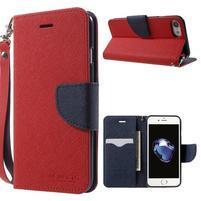 Cross textúrované PU kožené puzdro na iPhone 8 a iPhone 7 - červené