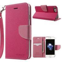 Cross textúrované PU kožené puzdro na iPhone 8 a iPhone 7 - rose