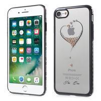 Xbar plastový obal sa Swarovski kryštály na iPhone 7 a iPhone 8 - srdce