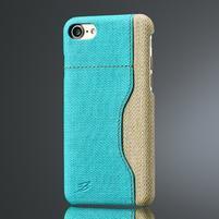 Herd plastový obal s chrbtom z textúrované PU kože s priehradkou na iPhone 7 a iPhone 8 - modrý