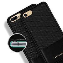 Wu PU kožený / plastový obal na iPhone 7 a iPhone 8 - čierny