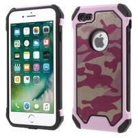 Maskovacie hybridný odolný obal na iPhone 7 a 8 - ružový