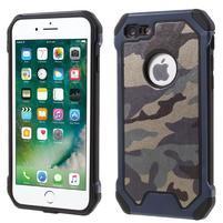 Maskovacie hybridný odolný obal na iPhone 7 a 8 - tmavomodrý