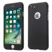 Hard set 2v1 plastový obal a tvrdené sklo na displej iPhone 7 a 8 - čierny