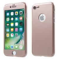 Hard set 2v1 plastový obal a tvrdené sklo na displej iPhone 7 a 8 - Rosegold