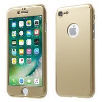 Hard set 2v1 plastový obal a tvrdené sklo na displej iPhone 7 a 8 - zlatý