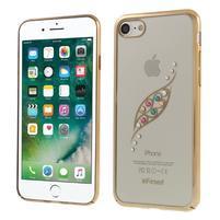 Fitt zdobený plastový obal na iPhone 7 a 8 - zlatý lístoček