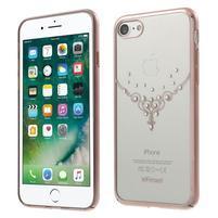 Rhine Swarovski kryštálový plastový obal na iPhone 7 a 8 - ružovozlatá náhrdelník