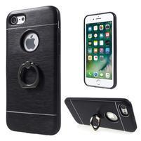 Metal odolný obal s kovovými chrbtom na Phone 7 a 8 - čierny