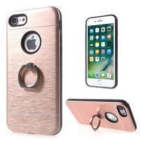 Metal odolný obal s kovovými chrbtom na Phone 7 a 8 - zlatorůžový
