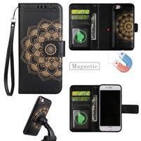 Mandala PU kožené puzdro s magnetickým držiakom na iPhone 7 a 8 - čierne