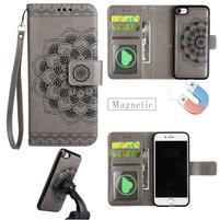 Mandala PU kožené puzdro s magnetickým držiakom na iPhone 7 a 8 - šedé