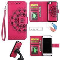Mandala PU kožené puzdro s magnetickým držiakom na iPhone 7 a 8 - rose