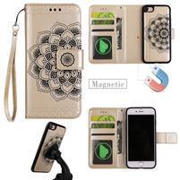 Mandala PU kožené puzdro s magnetickým držiakom na iPhone 7 a 8 - zlaté