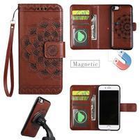 Mandala PU kožené puzdro s magnetickým držiakom na iPhone 7 a 8 - hnedé