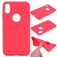 Matný gélový obal na iPhone X - červený