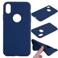 Matný gélový obal na iPhone X - modrý