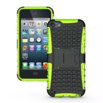 Outdoor odolný obal s výklopným stojanom na iPod Touch 5 a iPod Touch 6 - zelený