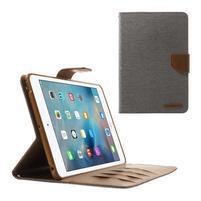 Canvas textilné / PU kožené puzdro na iPad mini / iPad mini 2 / iPad mini 3 - sivý
