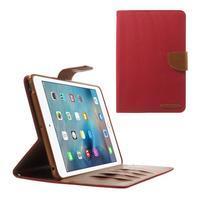 Canvas textilné / PU kožené puzdro na iPad mini / iPad mini 2 / iPad mini 3 - červený