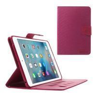 Canvas textilné / PU kožené puzdro na iPad mini / iPad mini 2 / iPad mini 3 - rose